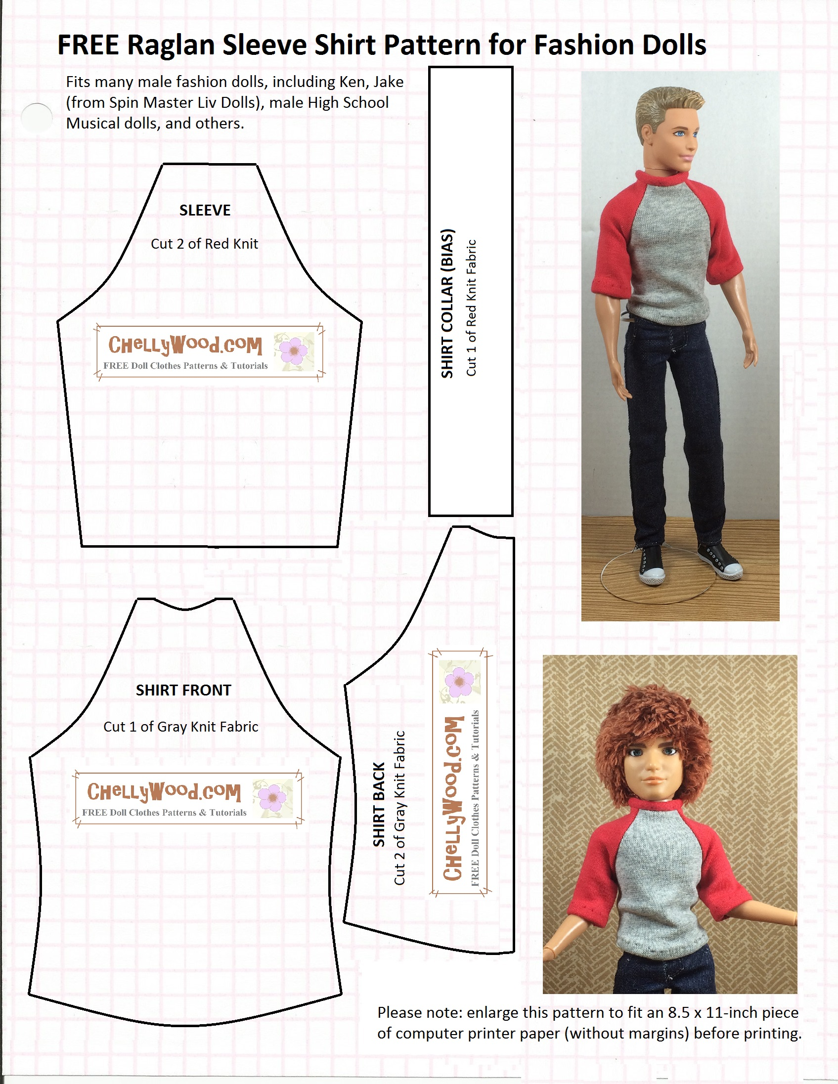 Homemade Doll Clothes-Red and White Checked Print Shirt that fits Ken Doll B4