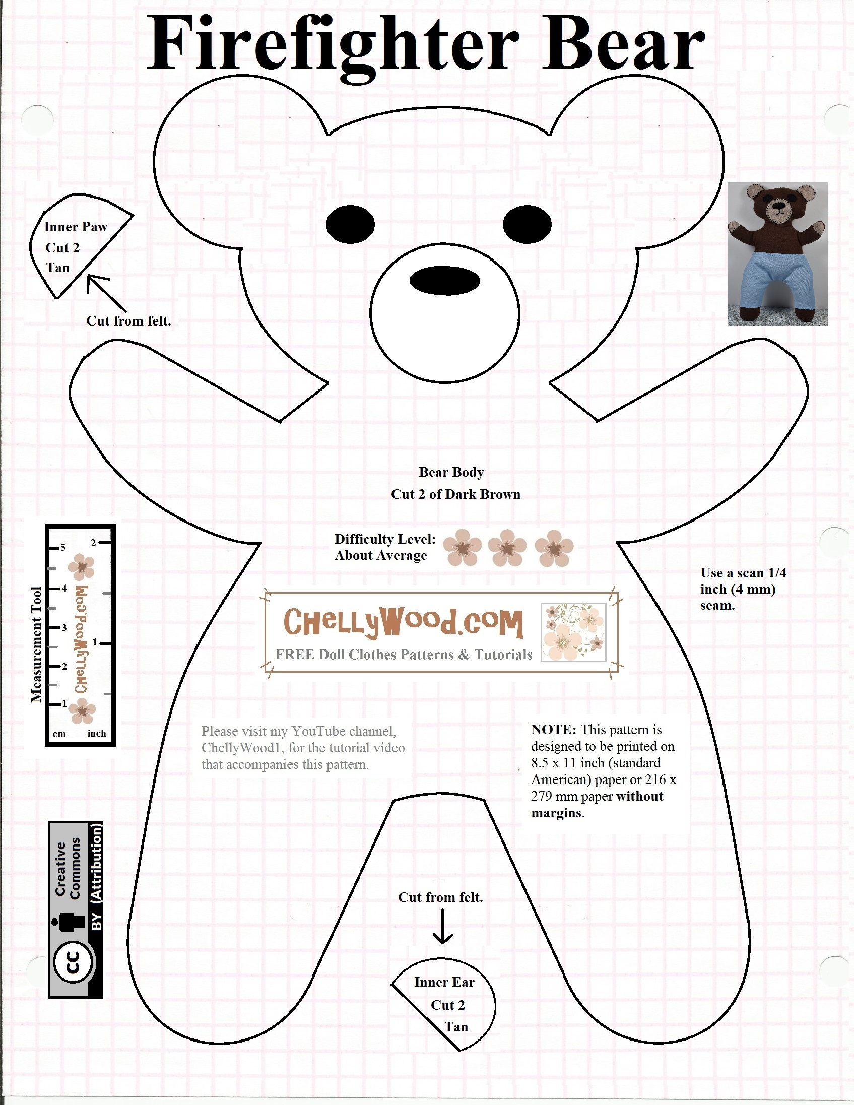 Free Teddybear Plush Toy Pattern Chellywood Com Free Doll Clothes Patterns